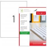 Etichete polyester albe, autoadezive,  1/A4, 210 x 297mm, 25 coli/top, TANEX - colturi drepte
