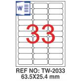 Etichete albe autoadezive, repozitionabile, 33/A4, 63.5 x 25.4mm, 25 coli/top, TANEX-colturi rotunji