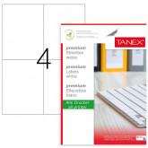 Etichete albe autoadezive, repozitionabile,  4/A4, 105x148.5mm, 25 coli/top, TANEX-colturi drepte