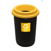Cos plastic reciclare selectiva, capacitate 50l, PLAFOR Eco - negru cu capac galben - plastic