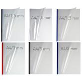 Coperti plastic PVC cu sina metalica 10mm, OPUS Easy Open - transparent cristal/rosu