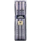 Marker pentru desen tehnic ARTLINE, varf fetru (0.1/0.3/0.5mm), 3 buc/set - negru