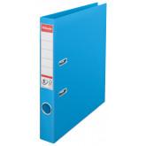 Biblioraft ESSELTE No. 1 Power, A4, plastifiat PP/PP, margine metalica, 50 mm - cyan