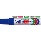 Permanent marker ARTLINE 100, corp metalic, varf tesit 7.5-12.0mm - albastru