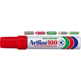 Permanent marker ARTLINE 100, corp metalic, varf tesit 7.5-12.0mm - rosu