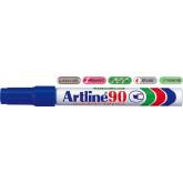 Permanent marker ARTLINE  90, corp metalic, varf tesit 2.0-5.0mm - albastru