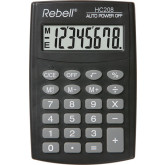 Calculator de buzunar, 8 digits,  98 x 65 x  9 mm, Rebell HC208 - negru