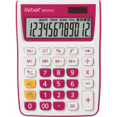 Calculator de birou, 12 digits, 145 x 104 x 26 mm, Rebell SDC 912 - alb/roz