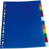 Separatoare plastic color, A4, 120 microni, 12 culori/set, Optima